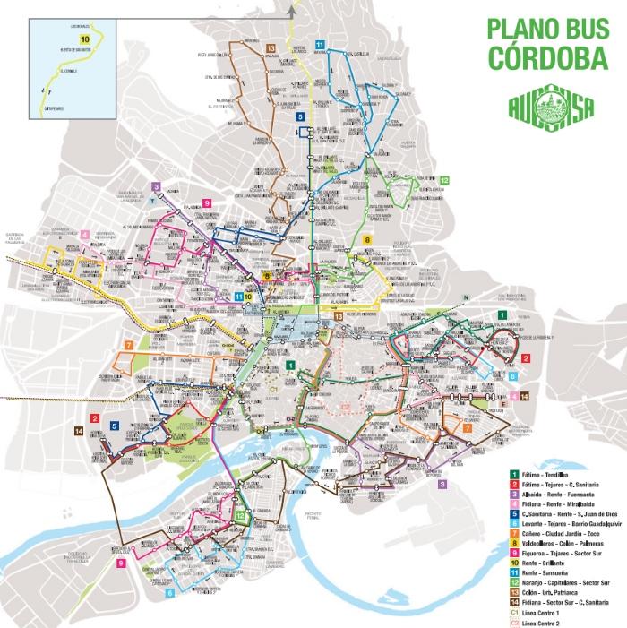 Plano red de Bus Urbano de Córdoba